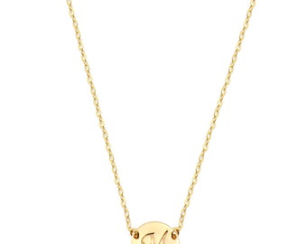14k solid yellow gold Initial Necklace Gold Disc Necklace, Personalized Jewelry, Initial Gold Necklace,