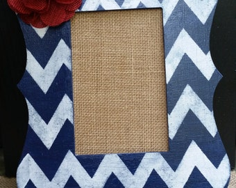 Navy Blue and White Chevron Picture Frame, Red Burlap Flower Accent