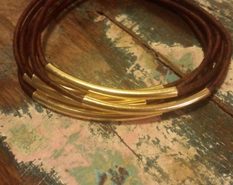 Mahogany Leather Cord Bangles with Gold Metal Tubes, Set of 6 Bangles