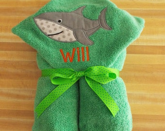 Happy Shark Hooded Towel, Boys Hooded Towel, Beach Towel, Shark Towel, Embroidered, Appliqued, Personalized, Bath Towel