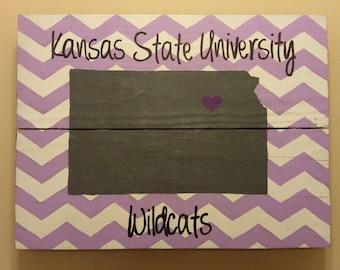 Kansas State University Wildcats Chevron Striped Sign