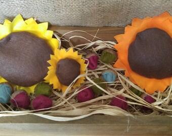 Sunflowers & Acorns Fall Bowl Filler/ Centerpiece-Primitive Fall/ Thanksgiving Decor