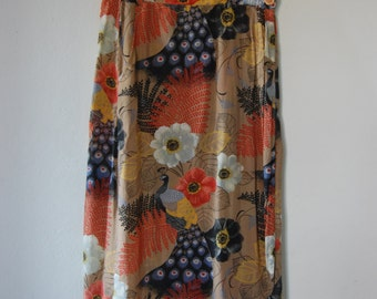 Vintage 1990's Mid-Length Patterned Wrap Skirt