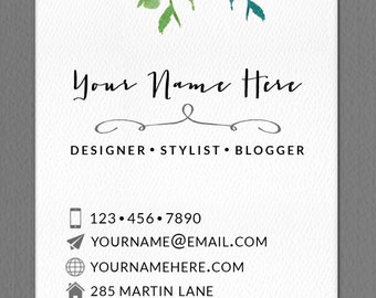 Personalized Business Calling Card Watercolor Flower
