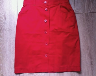 Yves Saint Laurent France 98 red pencil button up skirt vintage XS/S
