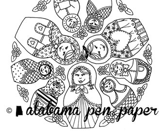 Doll coloring pages Etsy