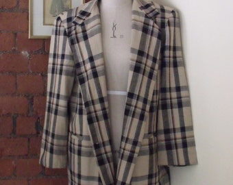 Vintage 80's Woven Check Double Breasted Blazer UK16
