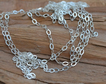 BULK OVAL FLAT Link Chain Sterling Silver - Unfinished Chain,(sold by the foot ) -High Quality Sterling Silver- Italy