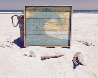 Midday Barrel, Ocean Wave Wall hanging, Reclaimed Wood Ocean art, Eco-minded wall art, Handmade Beach art, Hand painted wall hanging