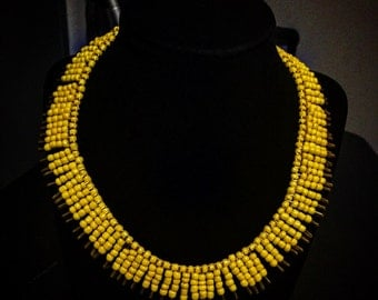 Pin Me Up-Yellow Handmade Beaded necklace