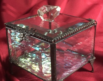 WAS 80, now 72.99!!! Herkimer crystal adorned glass  jewelry box