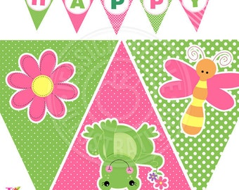 Spring Frogs Printable Party Banner, Printable Girl Frog Happy Birthday Banner, Girl Frog Party Banner, Triangle Banner, Cute Frog Banner