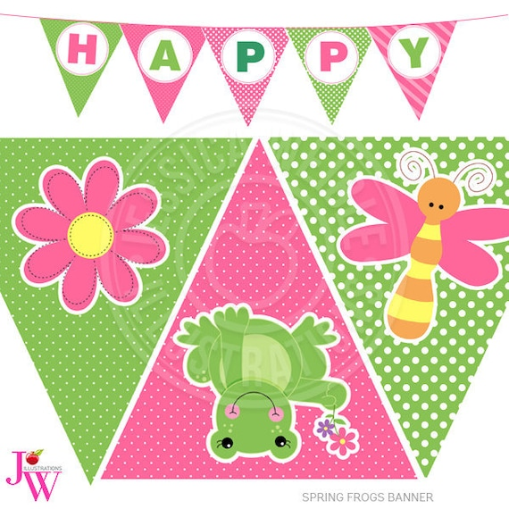Spring Frogs Printable Party Banner Printable Girl Frog Happy