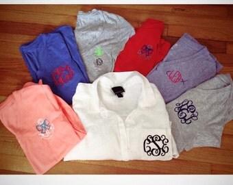 Monogramed Vneck/Crewneck Shirt Short Sleeve