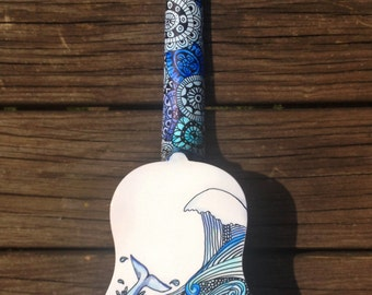 Hand-Decorated Soprano Ukulele Guitar - WHALES