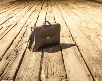 Dark Brown leather laptop bag-Leather crossbody satchel-handmade laptop leather bag-handmade leather ba...
