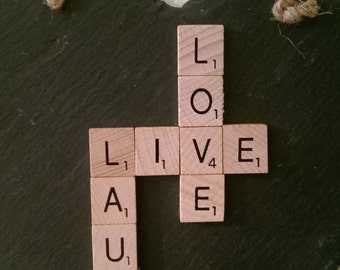 Live, Love, Laugh Sentiment Hanging Scrabble Slate