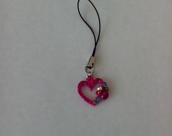 Whimsical Heart Cellphone Charm