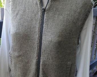 Alpaca Vest, Grey, with zip and pockets