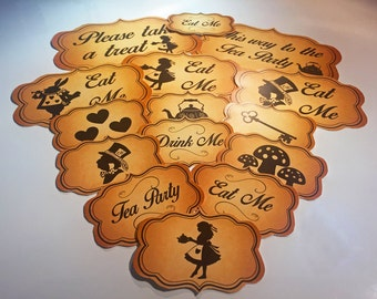 Alice In Wonderland Themed Sweet Buffett/ Tea Party Labels- 31 Designs