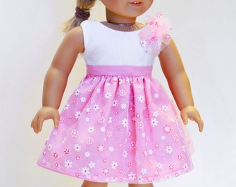 American made Girl Doll Clothes, 18 inch Girl Doll Clothing, Pink Colorblock Dress