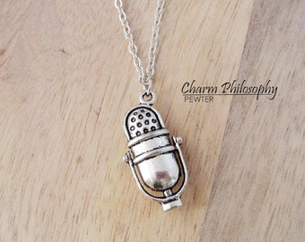 Radio Station Microphone Necklace - 3D Microphone Pendant - Radio Jewelry - Antique Silver Toned Jewelry