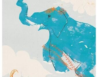 Flying Blue Elephant Print