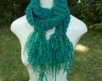Teal Knit scarf with mohair locks fringe