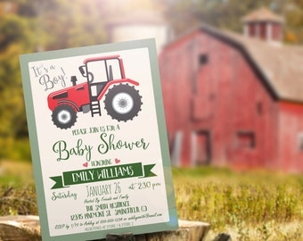 Tractor Baby Shower Invitation - Personalized Printable DIGITAL FILE - Farm Baby Shower