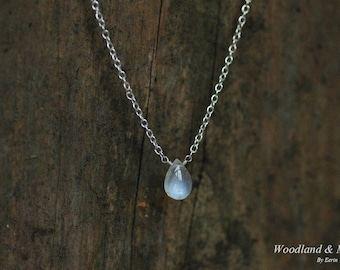 Rainbow moonstone drop necklace, a sterling silver chain necklace with spring clasp and a blue flash drop moonstone. 16, 18 inch