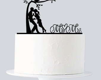 Mr and Mrs Cake Topper - Bride and Groom Acrylic Silhouette - Love Birds - Love Tree Cake Topper A1018