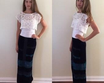 Vintage 1980s Maxi Skirt, Velvet and Lace Skirt, Maxi Skirt, Long Skirt, Vintage Skirt,  Casual Skirt, Teen Maxi Skirt