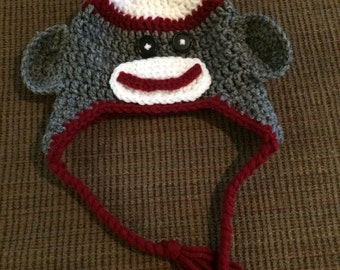 crochet infant sock monkey hat