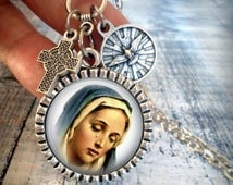 Sorrowful Mother Necklace with Holy Spirit Medallion, Italian Charms, Catholic Jewelry, Baptism Gift