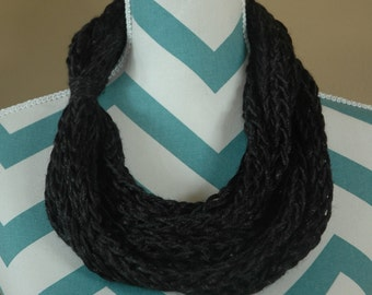 Hand Knit Infinity Scarf - Black