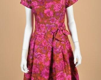 Vintage 1950's Suzy Perette Floral Pleated Dress GORGEOUS