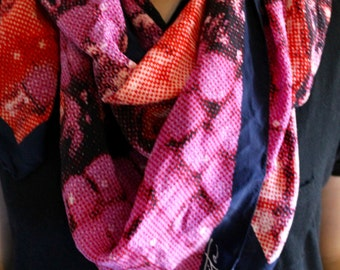 Vintage scarf / red, purple and blue / 1980s