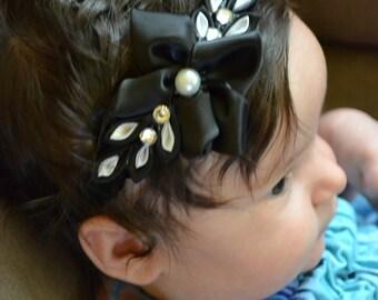 Black flower headband / chic headband flower black/white