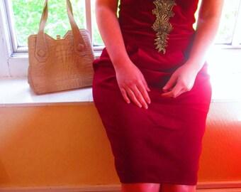 SALE // Vintage Strapless Embroidered Velvet Dress