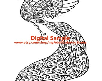 peacock coloring page for adults peacock adult coloring page bird adult coloring pages - Flamingo Coloring Pages