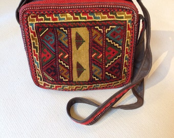 Kilim Crossbody bag - Handcrafted Persian wool woven crossbody bag