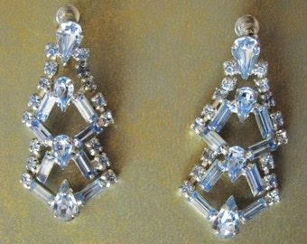 Earrings - Blue Rhinestones