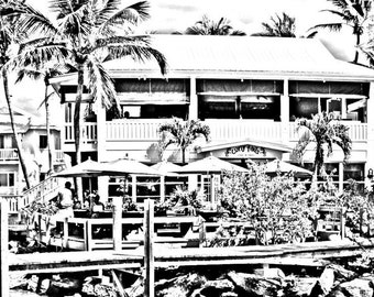 gray scale bahamas coloring page coloring page curly tails digital download beach scene marsh harbor abacos - Palm Tree Beach Coloring Page