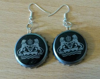 Lion Crest Bottle Cap Earrings
