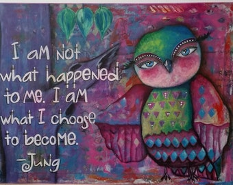 Whimsical Owl with Jung Quote