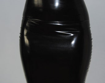 Super High Waisted Black & Transparent Latex Pencil Skirt Size Small 8/10