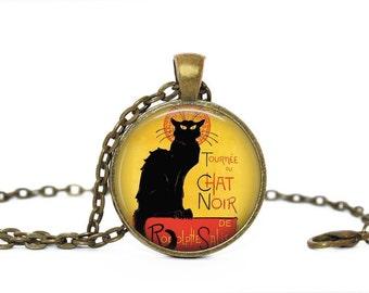 CHAT NOIR vintage poster, handmade necklace with pendant, glass cabochon bronze pendant illustration