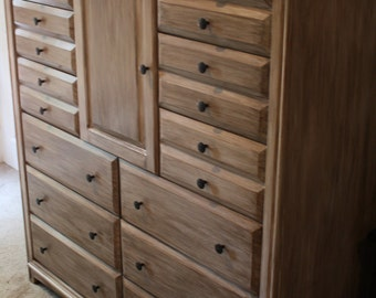 Large whitewashed dresser (12 drawers)