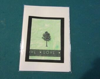 beautiful handmade blank greeting card with tree/love