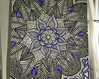 Flower, Original Mandala, Hand Drawn Artwork, Zentangle